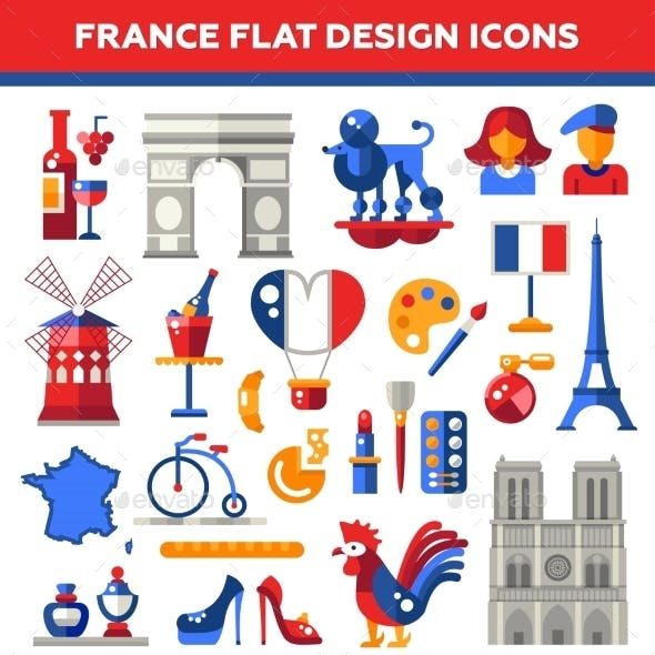 Set Of Flat Design France Travel Icons
