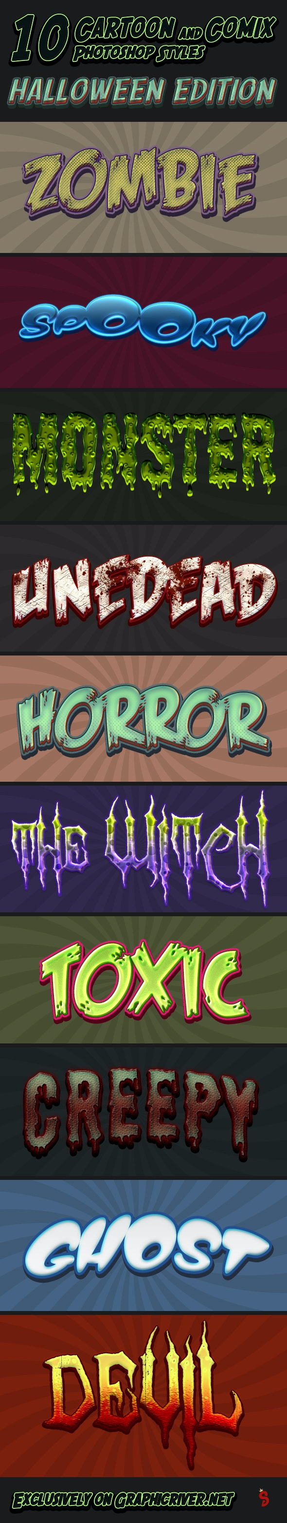 Cartoon and Comic Book Styles - Part 9 - Halloween - Text Effects Styles