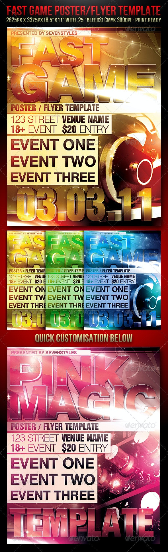 Fast Game Poster/Flyer Template - Clubs & Parties Events