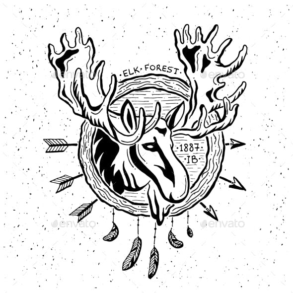 Illustration Of Vintage Grunge Label With Moose