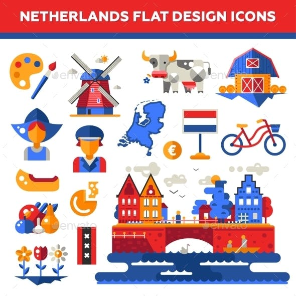 Set Of Flat Design Holland Travel Icons