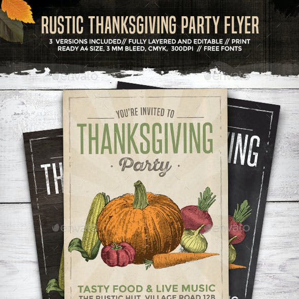 Rustic Thanksgiving Party Flyer