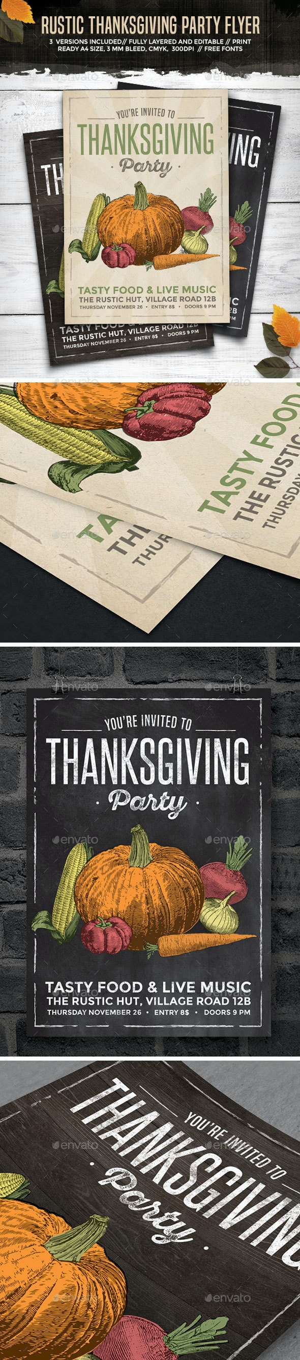Rustic Thanksgiving Party Flyer - Holidays Events