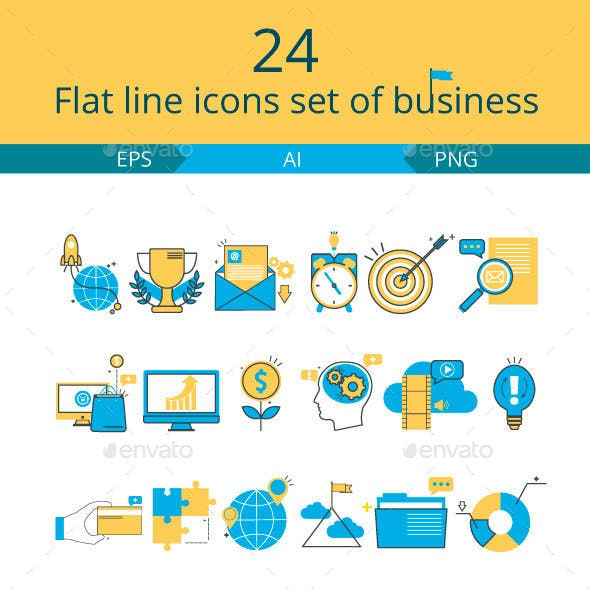 Flat line icons set of business