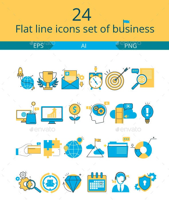 Flat line icons set of business - Business Icons