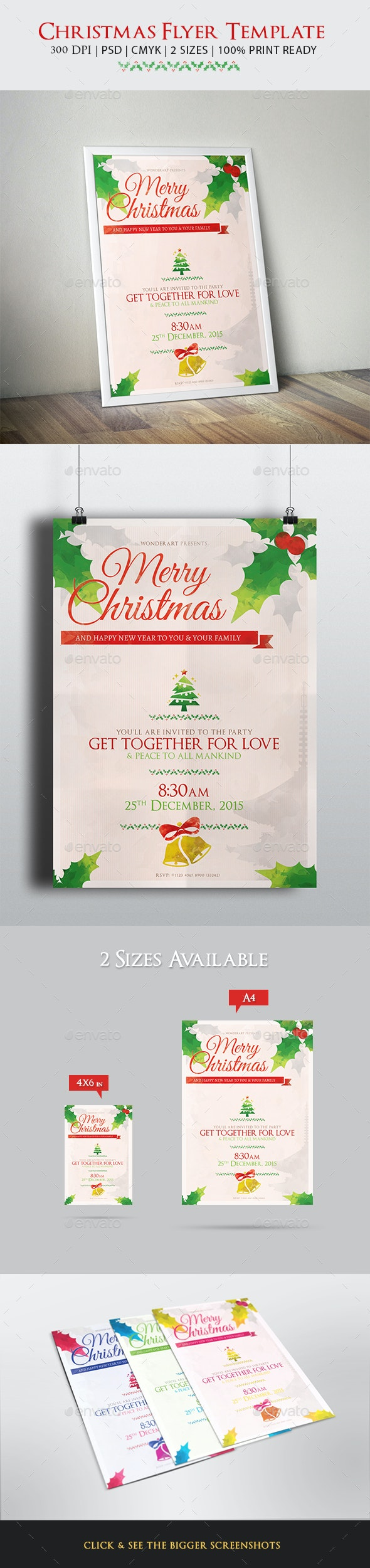 Christmas Celebration Greetings Flyer Template - Holidays Events