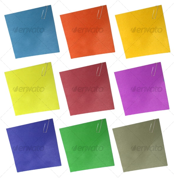 Slightly wrinkled paperclipped note - Home & Office Isolated Objects