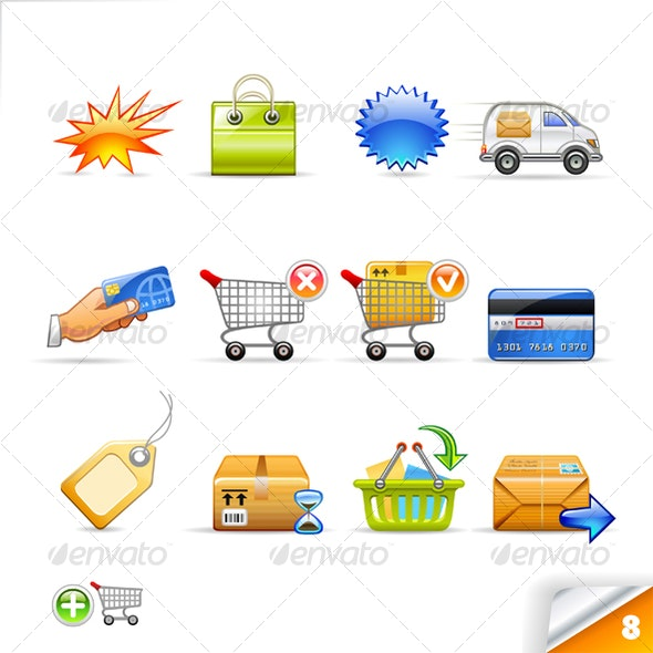 icon set n°8  - commerce theme - infinity series - Business Icons