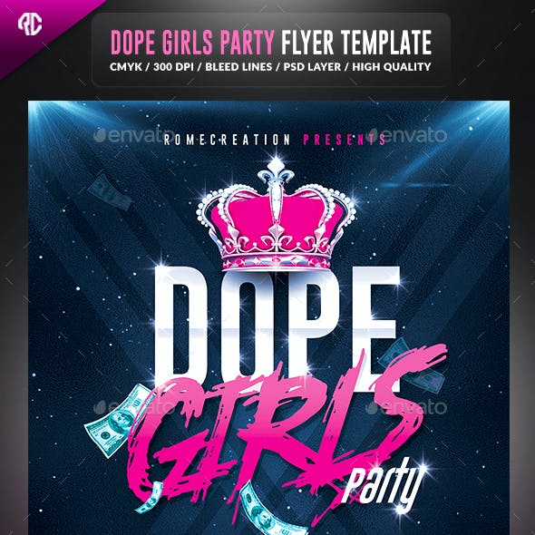 Dope Girls Pink Party | Psd Flyer Template