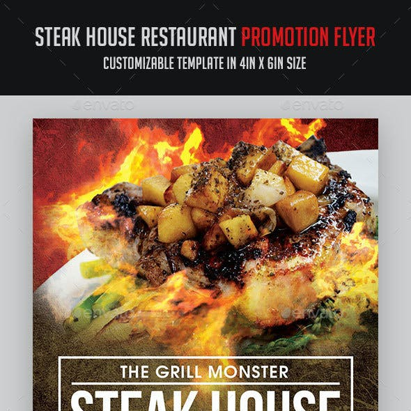 Steak House BBQ Restaurant Flyer