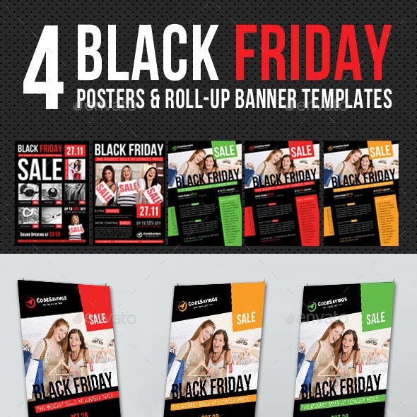 4 Black Friday Posters and Banner Bundle
