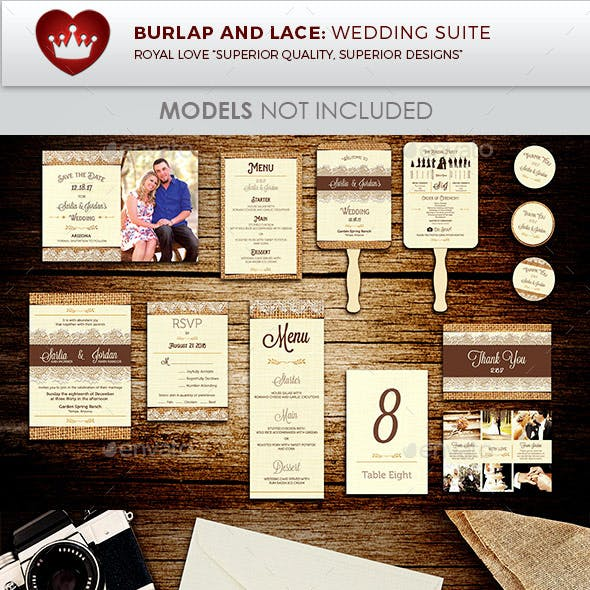 Burlap and Lace Wedding Invitation Suite Template