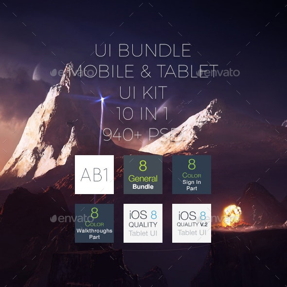 Mobile Tablet UI Bundle - User Interfaces Web Elements