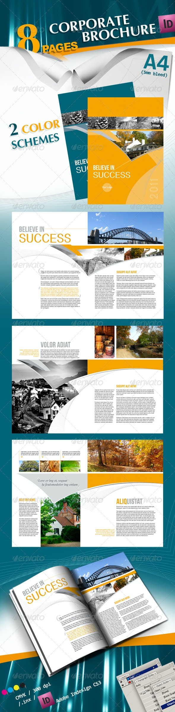 Corporate A4 Brochure in 2 Schemes of Color - Corporate Brochures