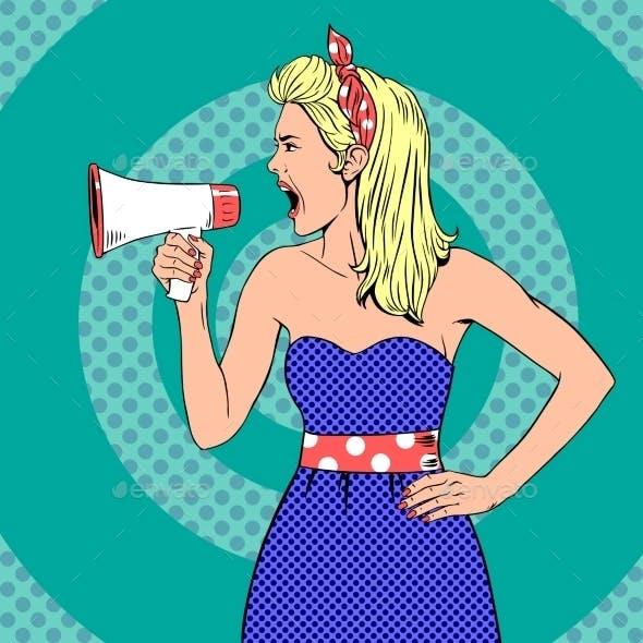 Girl With Megaphone  Or Loudspeaker In Pop-art