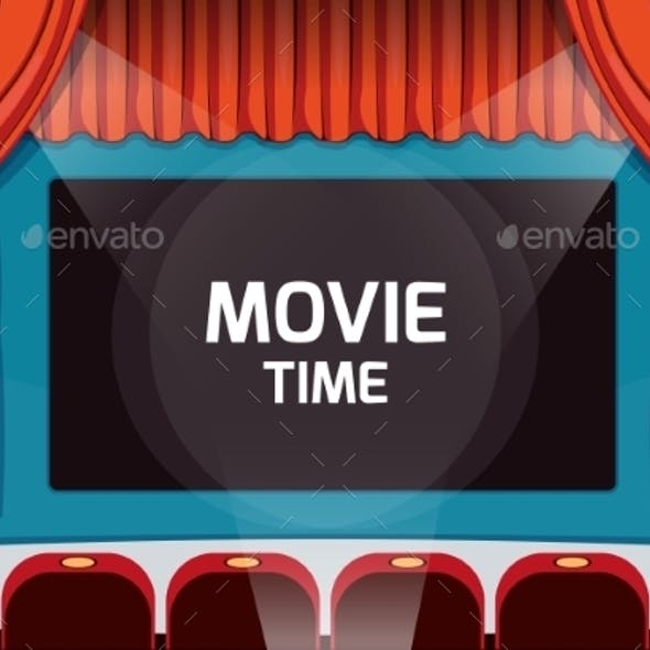 Vintage Vector Theater Stage With Red Curtains