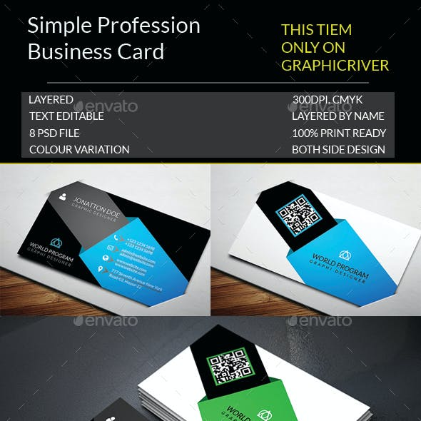 Simple Profession Business Card Template.143