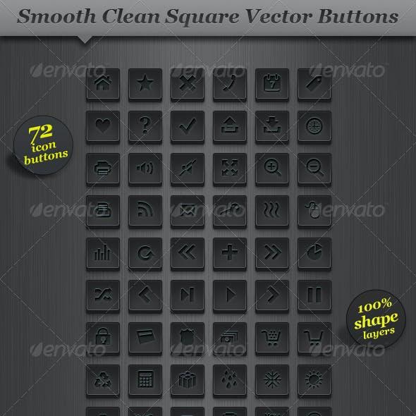 Dark Square Icon Set Vector Web Buttons
