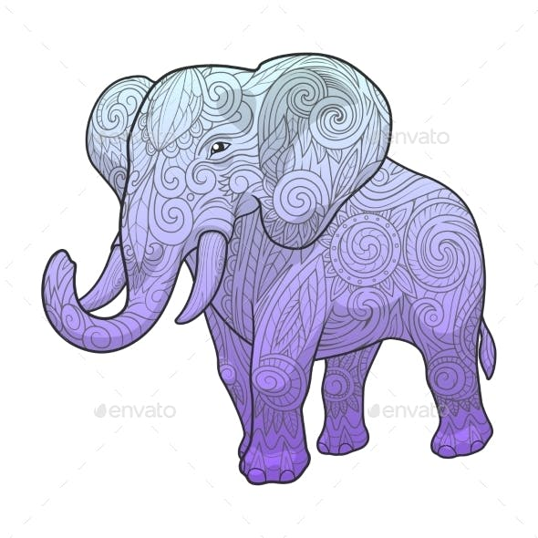 Elephant Ornament Ethnic Vector Illustration
