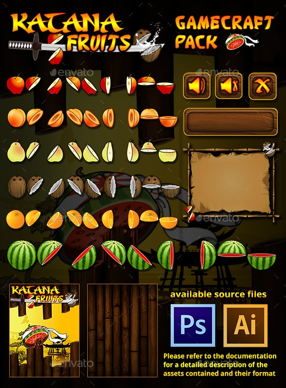 Katana Fruits Game Assets - Game Assets