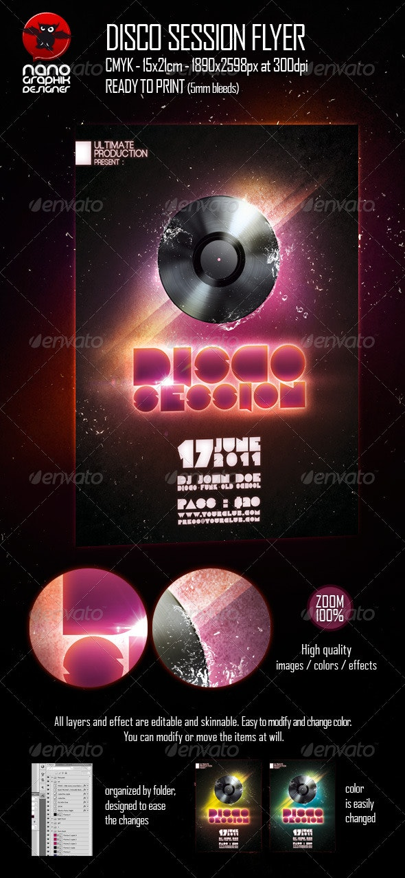 Disco Session Flyer - Clubs & Parties Events