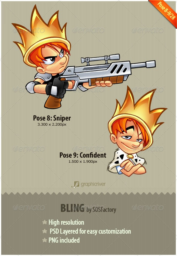 Bling Series 8-9: Sniper and Confident - Characters Illustrations