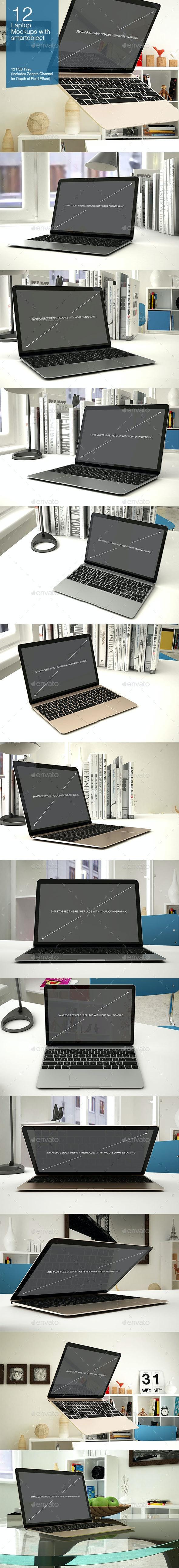 Laptop Mockup 12 Poses - Laptop Displays