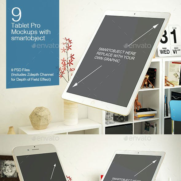Tablet Mockup 9 Poses
