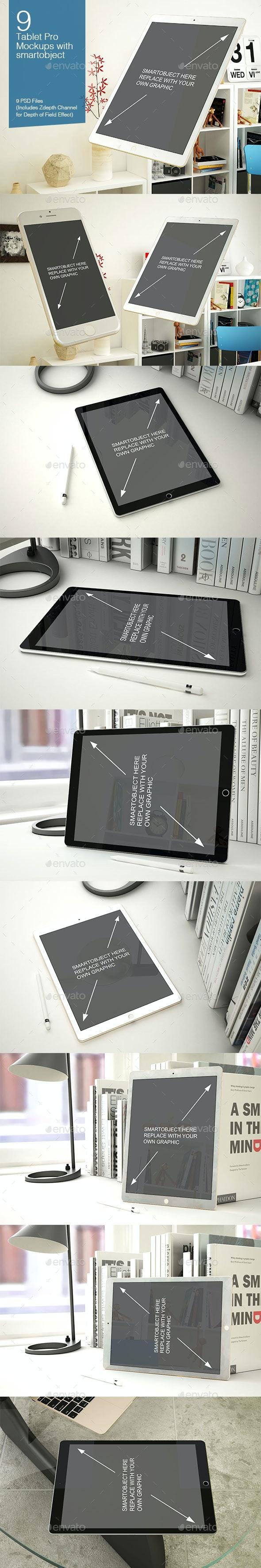 Tablet Mockup 9 Poses - Mobile Displays