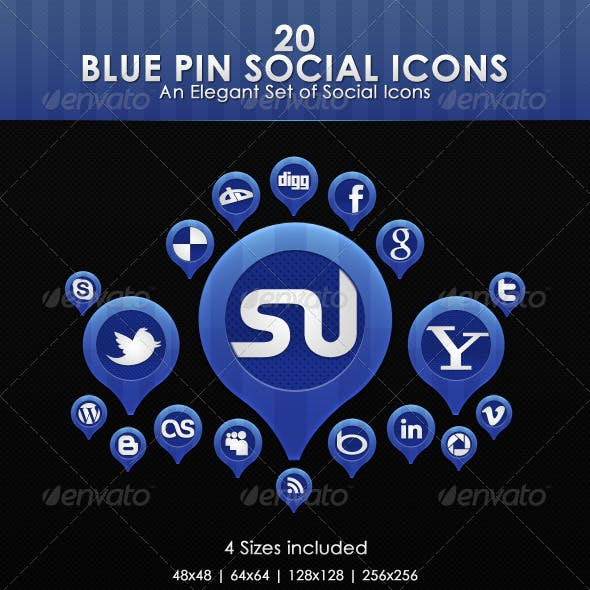Blue Pin Social Icons
