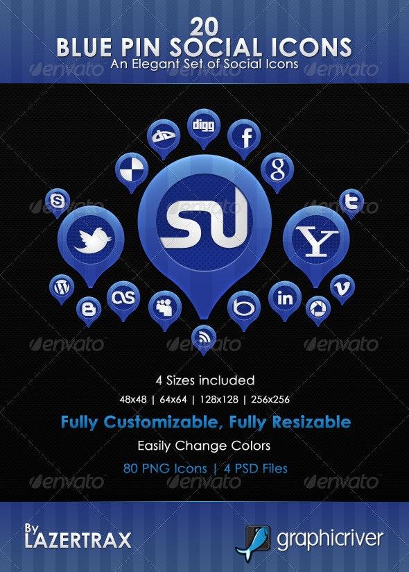 Blue Pin Social Icons - Web Icons