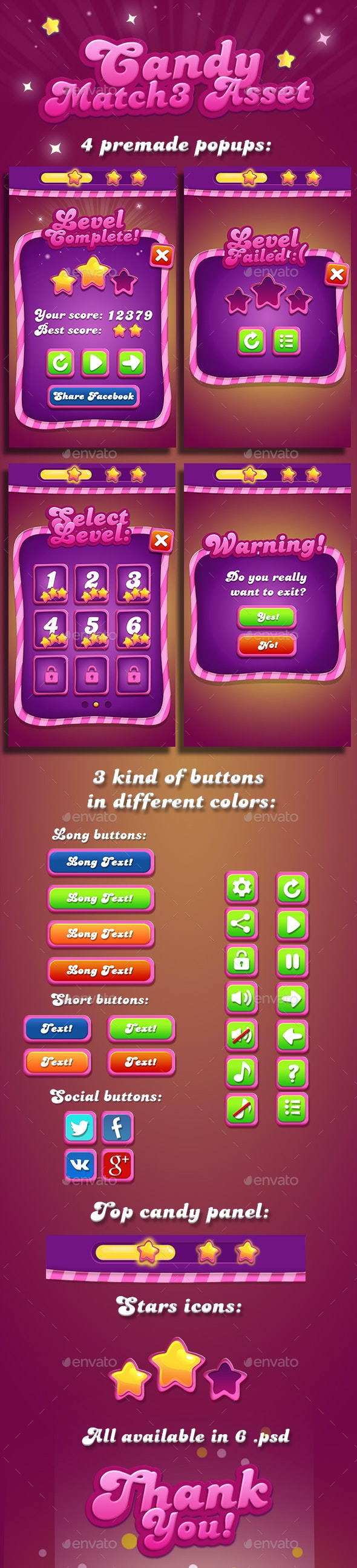 Candy Match-3 GUI - User Interfaces Game Assets