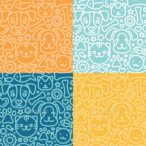 Seamless Patterns with Cat and Dog Icons