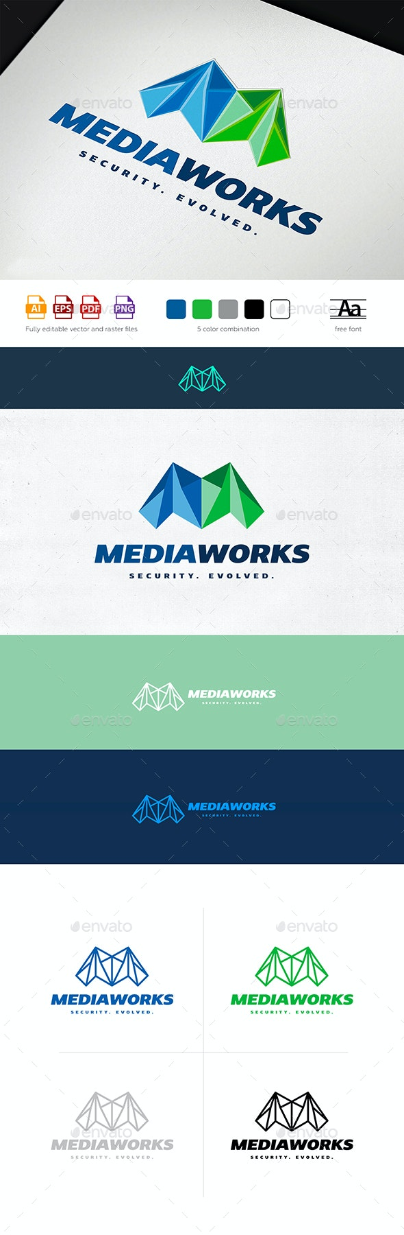 Media Works Logo Template - Letters Logo Templates