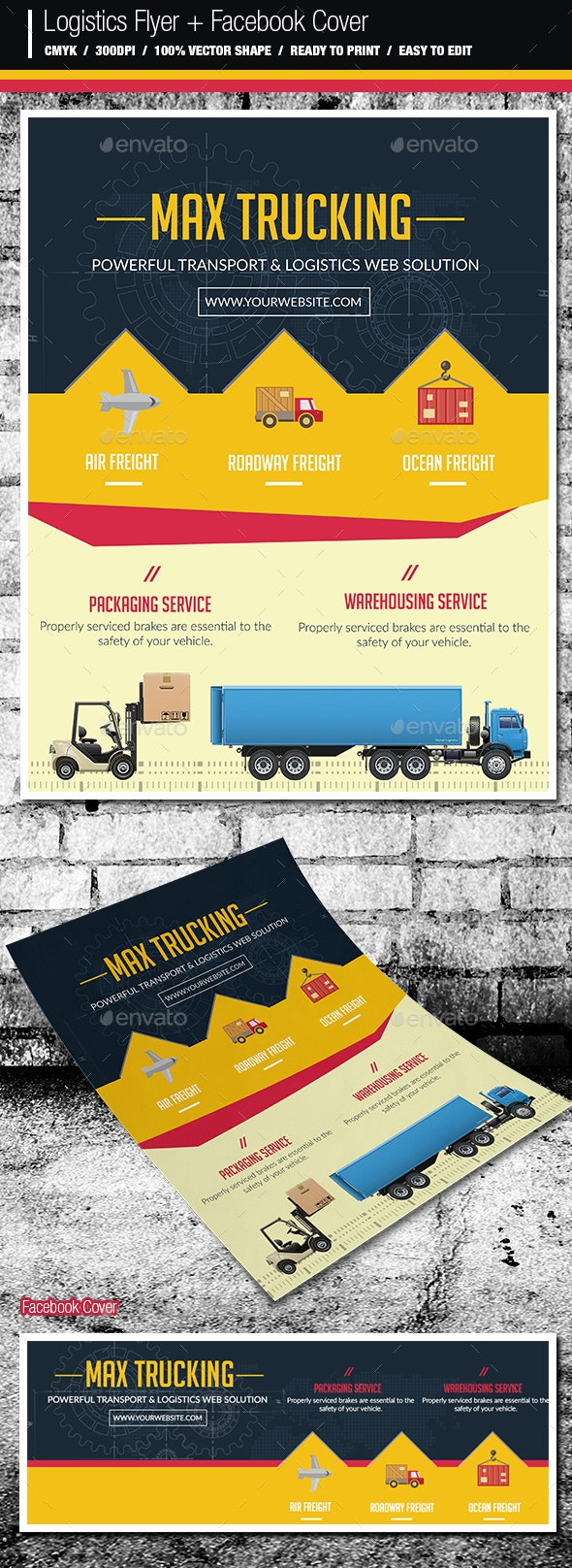 Logistics Flyer And Facebook Cover - Corporate Flyers