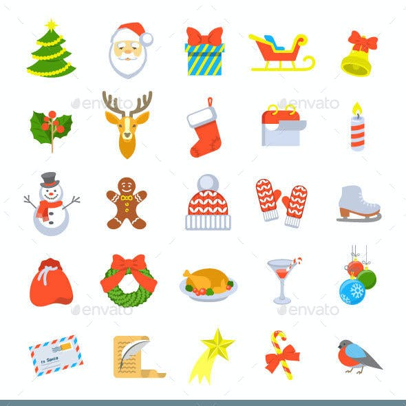 Christmas Symbols Flat Vector Icons Set