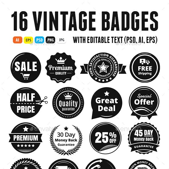 16 Scalable Vintage Badges