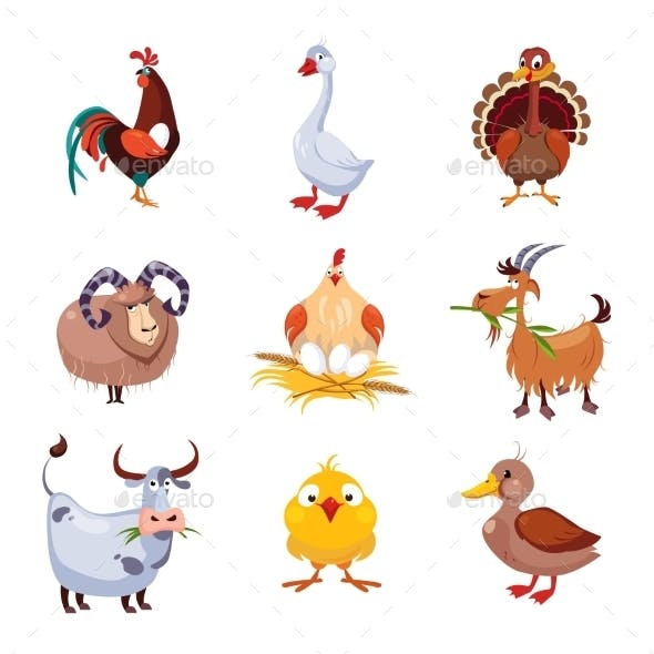 Farm Animal And Birds Vector Illustration Set