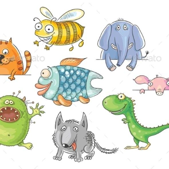 Big-Eyed Cartoon Animals Set
