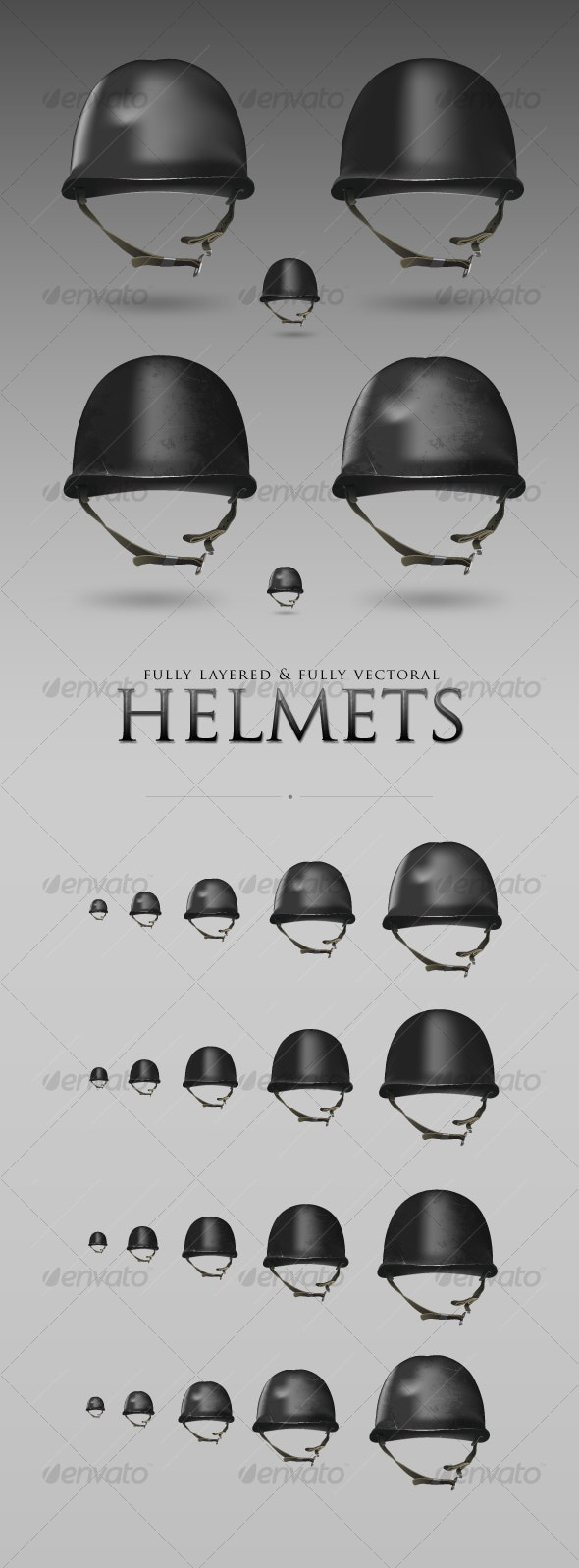 Military Helmet Set - Objects Vectors