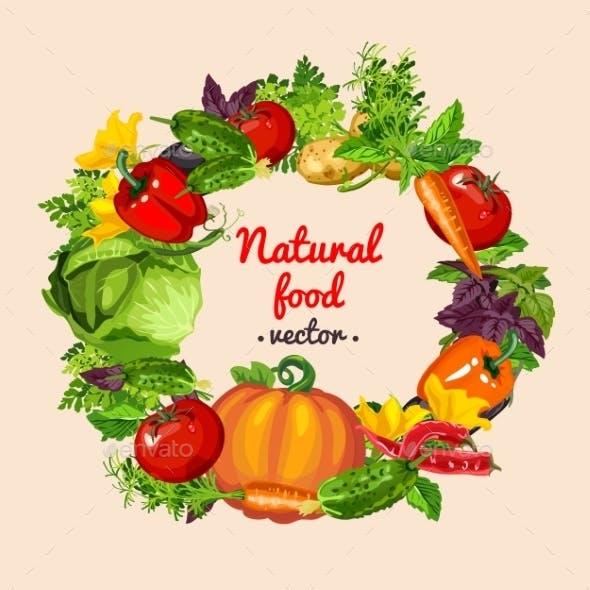 Vegetable Mix Wreath, Natural Food Vector