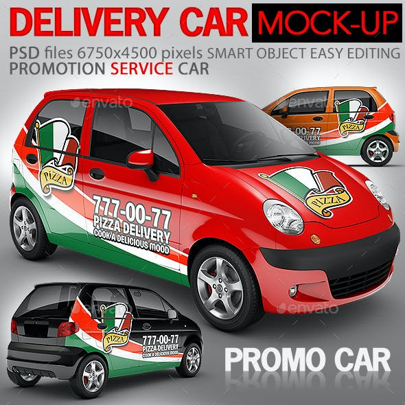 Pizza Delivery Promo Car Mock-up