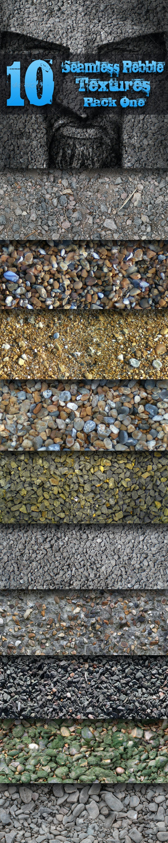 10 Seamless Pebble Textures - Pack One - Stone Textures