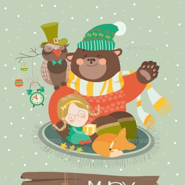 Cute Girl, Funny Bear And Owl Celebrating