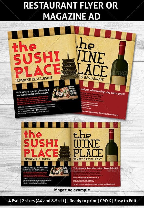 Restaurant Magazine Ads or flyer - Restaurant Flyers