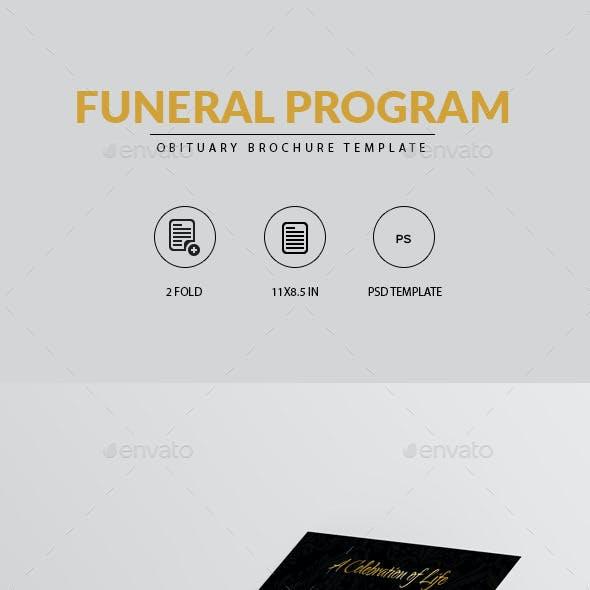 Golden Funeral Program Brochure