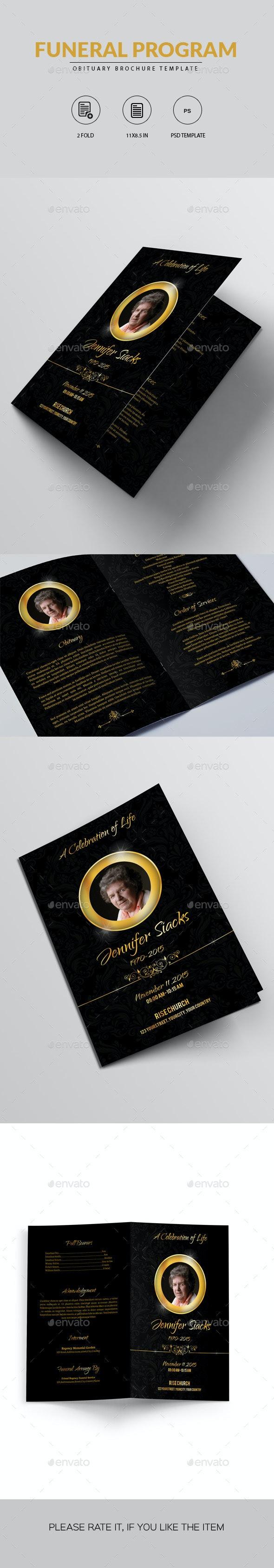 Golden Funeral Program Brochure - Informational Brochures