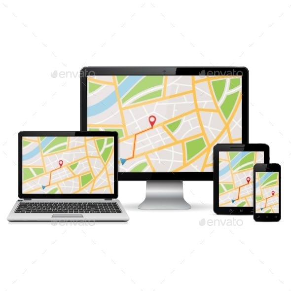 GPS Map On Modern Digital Devices