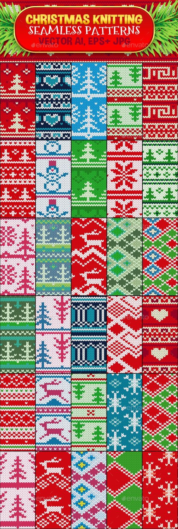 Christmas Seamless Knitting Pattern Set - Patterns Decorative