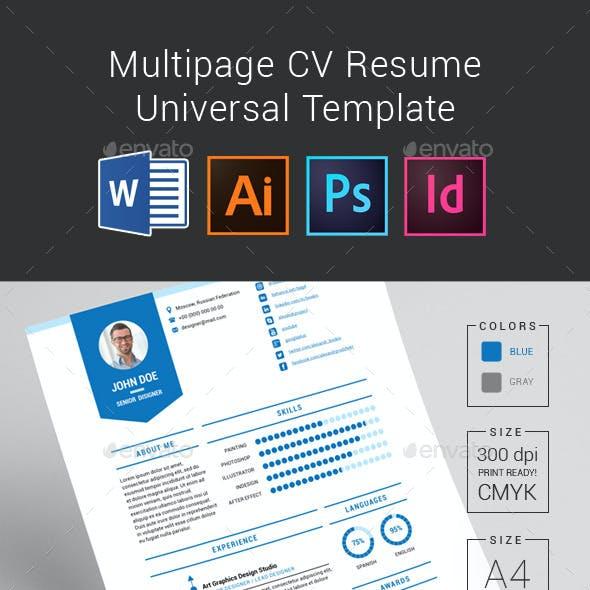 Multipage CV Resume Universal Template